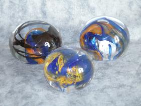 blue and orange paperweight group