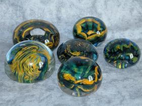 blue and yellow paperweight group