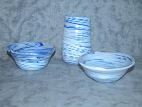 smaller blue swirl dishes and vase