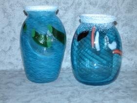 blue swirl vase group