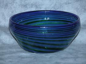 blue with aventurine cane swirl bowl