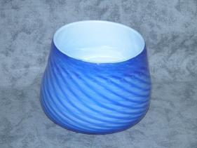 blue with solid white bowl