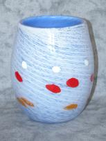 Large White and Blue Murrini Vase