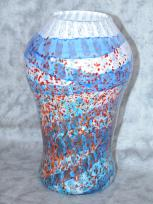 large white with blue swirl vase