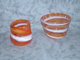 orange swirl bowls