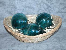 Sea-green and Silver Christmas Ball Basket