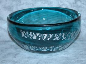 Sea-green and Silver Swirl Heavy Bowl