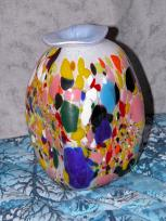 blue & white mosaic jar