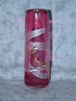 silver and gold leaf rose narrow vase