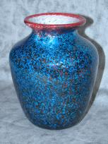 small blue red-lipped vase